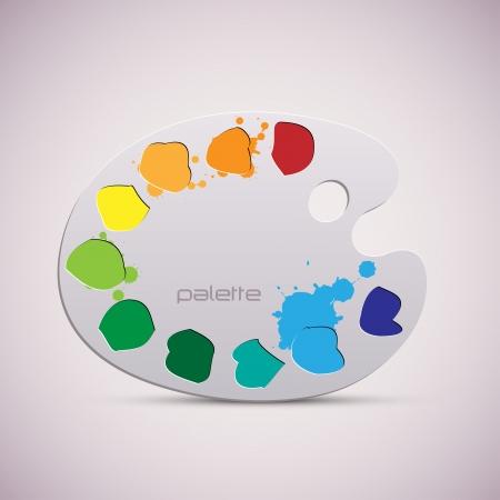Wooden art palette  Color illustration