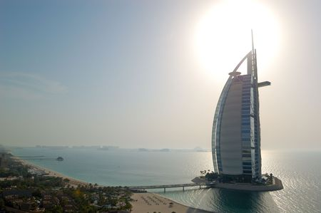 DUBAI, UAE - AUGUST 27: The world's first seven stars luxury hotel Burj Al Arab Tower of the Arabs, also known as Arab Sail at sunset  on August 27, 2009 in Dubai, United Arab Emirates