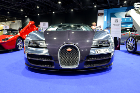 DUBAI, UAE - NOVEMBER 18: The Bugatti Veyron 6.4 Grand Sport Vitesse sportscar is on Boulevard of Dreams on Dubai Motor Show 2017 on November 18, 2017