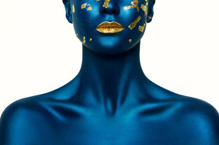 Blue Halloween Makeup on beauty fashion model.