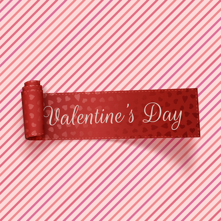 Ilustración de Valentines Day realistic red festive Tag on pink striped Background. Vector Illustration - Imagen libre de derechos