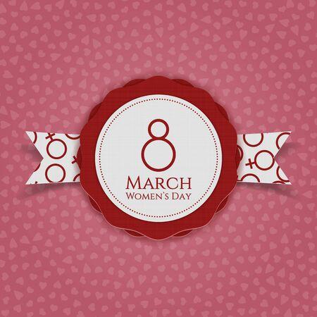 International Womens Day realistic Emblem and Ribbon