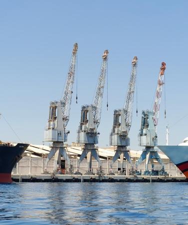 Row of four cranes in Eilat harbor, Israel
