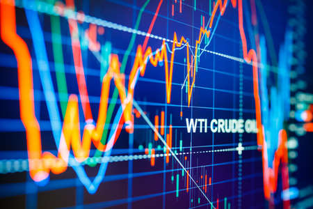 Foto de Data analyzing in commodities energy market: the charts and quotes on display. US WTI crude oil price analysis. Stunning price drop for the last 20 years. - Imagen libre de derechos