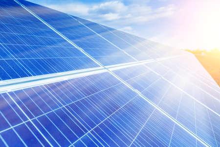 Foto de Solar panels, photovoltaic, alternative source environmentally friendly energy. In the backlight sunbeam light. - Imagen libre de derechos