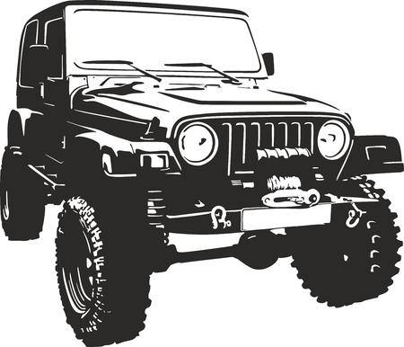 Ilustración de Offroad vehicle in black color - Imagen libre de derechos