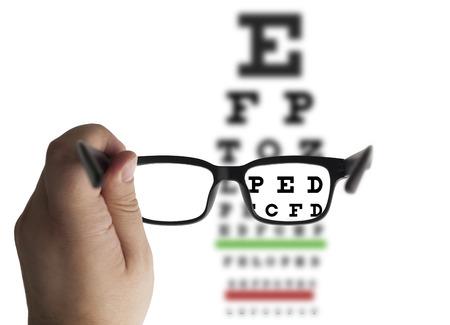 Photo pour Eye glasses on eyesight test chart background - image libre de droit
