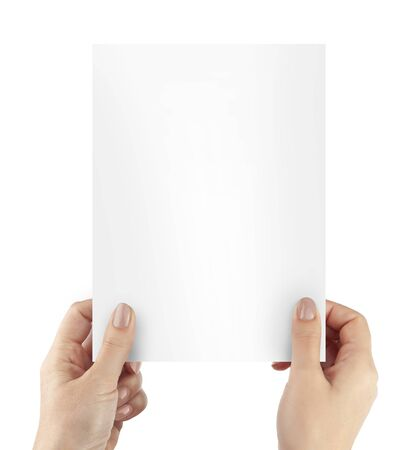Photo for Woman hands holding blank paper sheet A4 size or letter paper isolated on white background. With cliping path elements - Royalty Free Image
