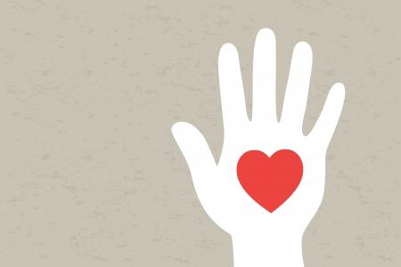 Illustration pour Hand with heart  Vector illustration  - image libre de droit