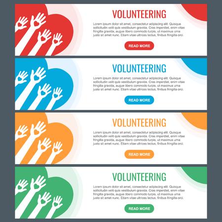 Illustration pour Volunteer web banner templates. Hands with hearts. Raised hands volunteering vector concept. - image libre de droit