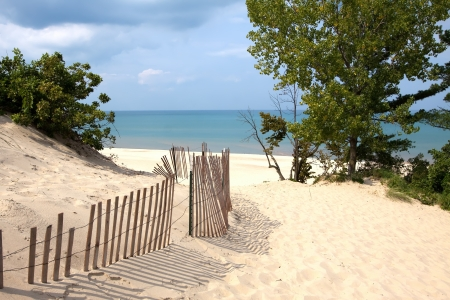 Indiana sand dunes on Lake Michigan