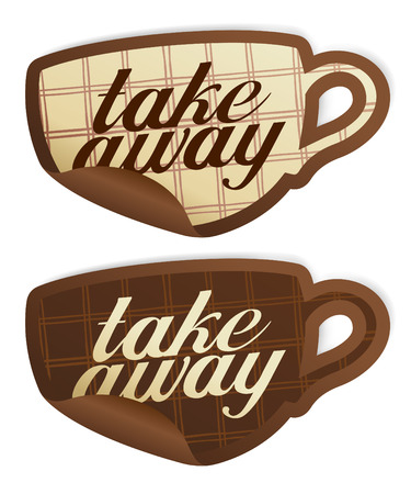 Illustration pour Take away stickers in form of coffee cup. - image libre de droit