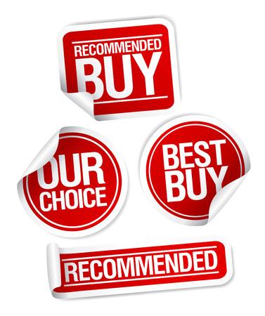 Illustration pour Recommended buy, our choice stickers set. - image libre de droit