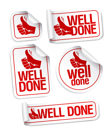 Illustration pour Well done stickers with hand thumbs up symbol. - image libre de droit