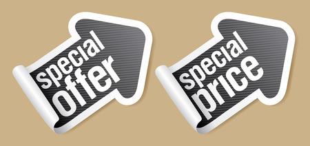 Special offer stickers in form of arrow.