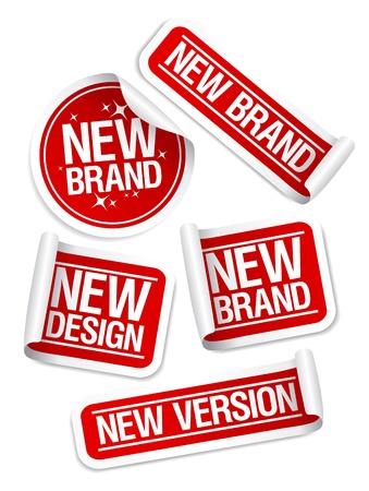 Illustration pour New Brand, Design, Version stickers set. - image libre de droit