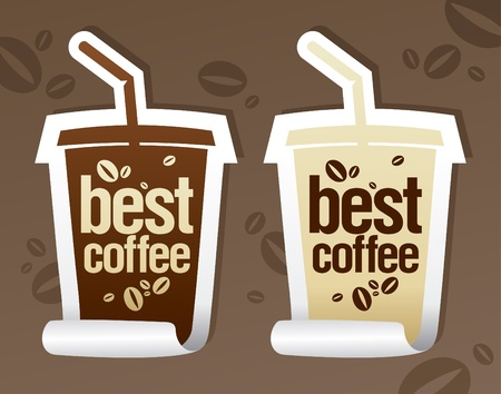 Illustration pour Best coffee stickers in form of take away cup. - image libre de droit