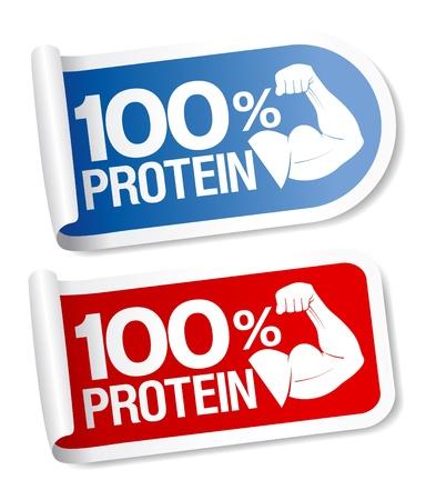 Vektor für 100 % protein, energy sports food stickers. - Lizenzfreies Bild