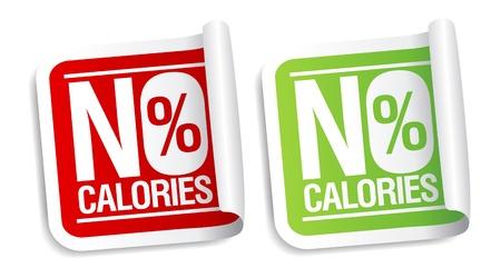 No calories, diet food stickers set.