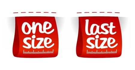 One, last size clothing labels set.
