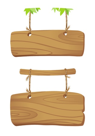 Wooden boards hanging on a cord on branch of a tree