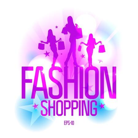 Ilustración de Fashion shopping design template with fashion girls silhouette in ray lights. Eps10 Vector. - Imagen libre de derechos