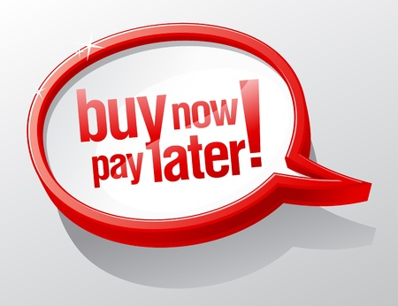 Buy now pay later shiny speech bubble
