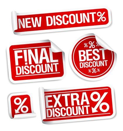 Ilustración de Best discount sale stickers set  - Imagen libre de derechos