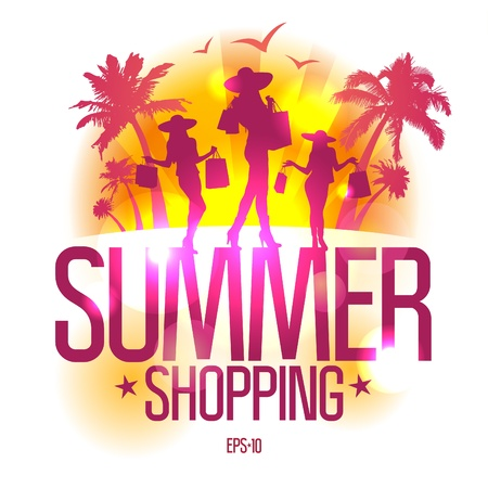 Summer shopping design template with fashion girls silhouette against tropical view