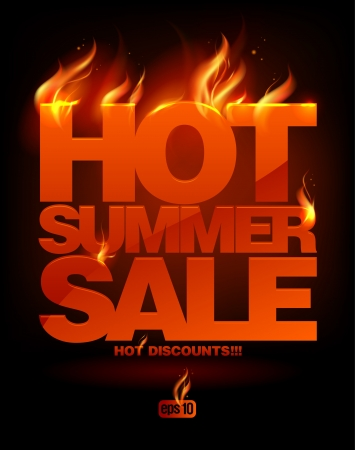 Illustration pour Fiery hot summer sale design template. Eps10 Vector. - image libre de droit