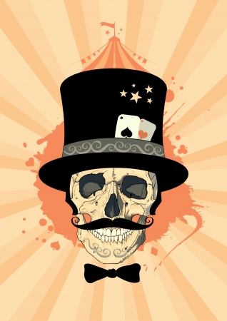 Circus design template with magician skull.