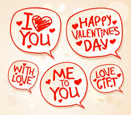 Happy Valentine`s day speech bubbles. Can be used as background or some icons