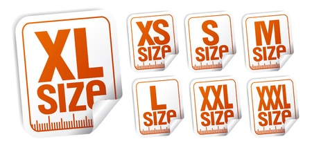 size clothing stickers set