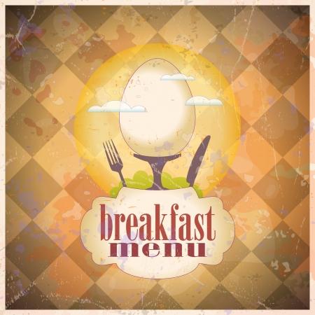 Retro breakfast menu card design template.