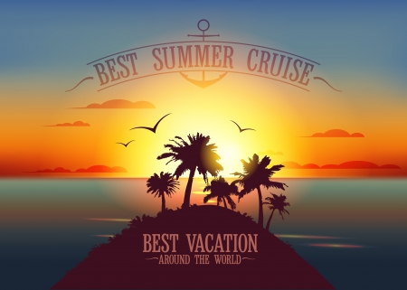 Best summer cruise design template with sunset tropical landscape