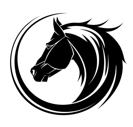 Ilustración de Horse circle tribal tattoo art. - Imagen libre de derechos