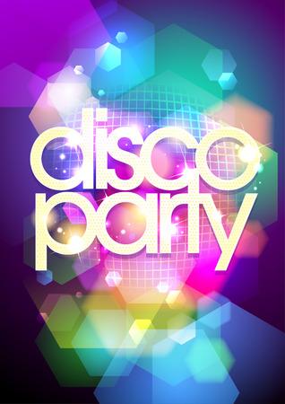 Disco party design on a bokeh background.