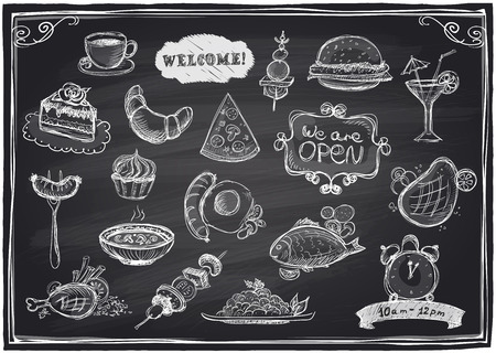 Illustration pour Hand drawn assorted food and drinks graphic symbols set  on a chalkboard background.  - image libre de droit