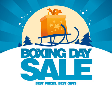 Boxing day sale design with gift box on a sled.