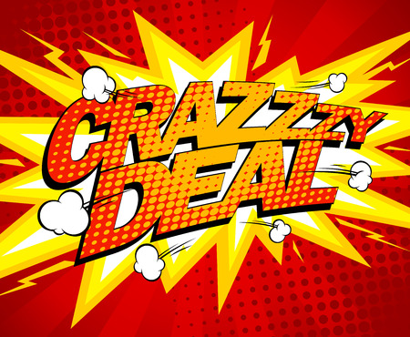 Crazy deal design, comics style.