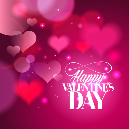 Happy Valentines day calligraphy design with hearts backdrop.