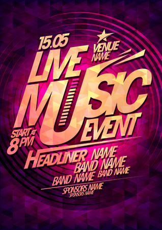 Live music event, party design with place for text.