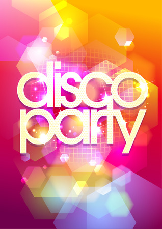 Hot disco party bokeh background. Eps10.