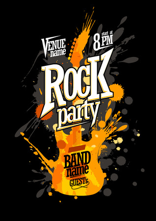 Illustration pour Rock party poster design with electro guitar made from blots - image libre de droit