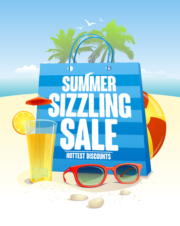 Illustration pour Summer sizzling sale with blue shopping bag on a beach  backdrop with palms, sun glasses and cocktail - image libre de droit