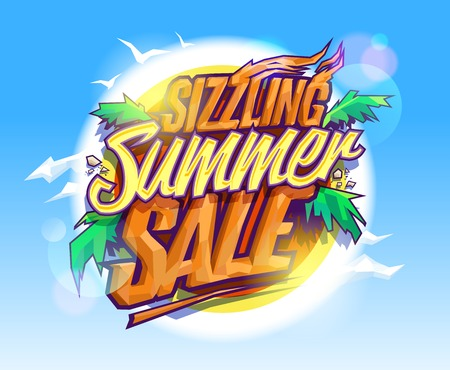 Ilustración de Sizzling summer sale, hot tropical design concept, sun, palms leaves and sky - Imagen libre de derechos
