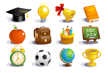 Ilustración de Set of school icons and  education concept objects - Imagen libre de derechos