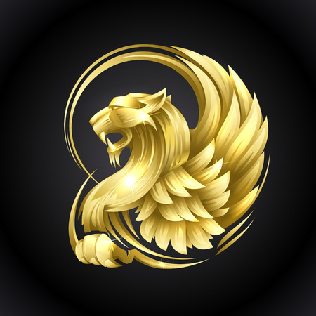 Ilustración de Golden heraldic Griffin vector illustration on a black background - Imagen libre de derechos
