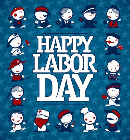 Illustration pour Happy Labor day card concept with figures of different professions - image libre de droit
