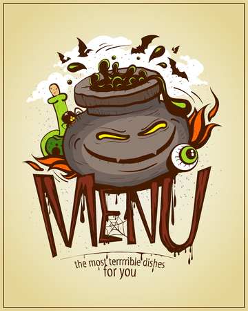 Halloween menu card cover design, angry jar of potion graphic illustration